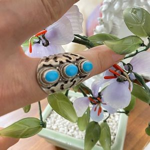 Vintage handmade 925 Cabochon Turquoise Ring